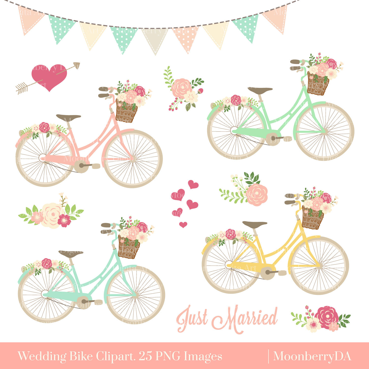 Bicycle floral png . Bike clipart flower