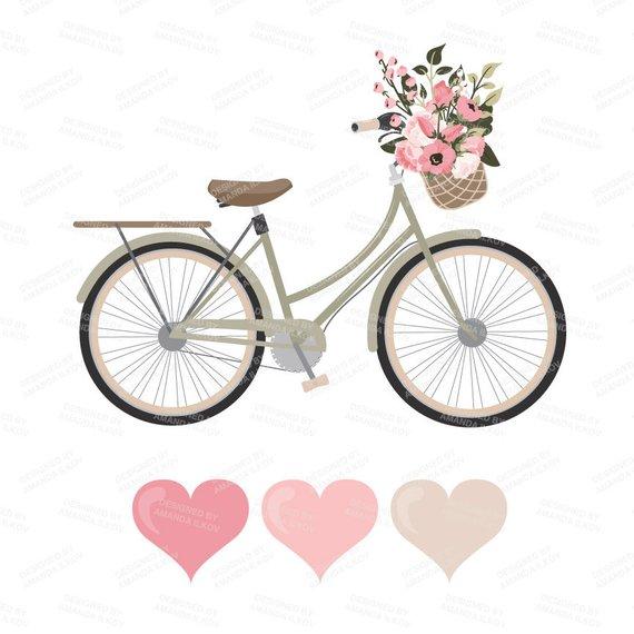 Biking clipart shabby chic. Premium wedding vectors soft
