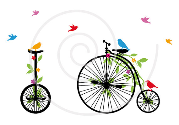 Biking clipart flower. Vintage bicycle with birds
