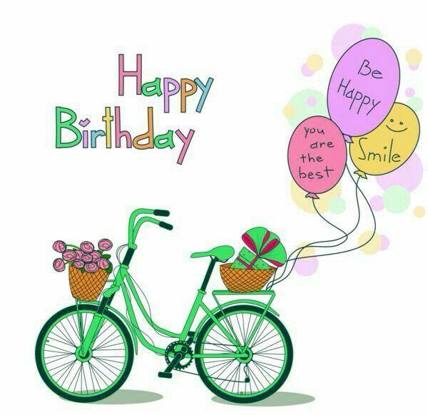 Happy bicycle birthdays pinterest. Biking clipart birthday