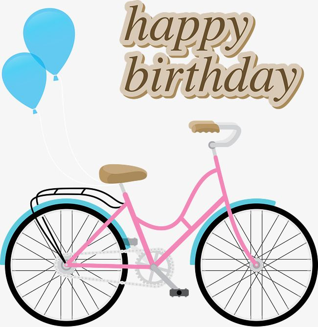 Bike clipart birthday. Vector girls happy