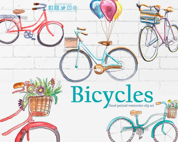 Bicycles clip art watercolor. Bicycle clipart hipster