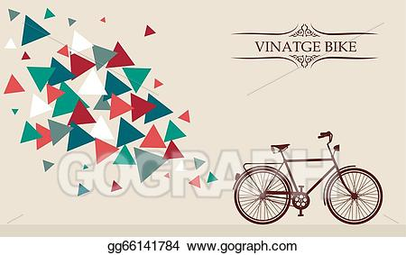 Vector retro bicycle with. Biking clipart hipster