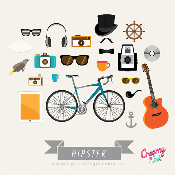 Trendy digital vector clip. Bicycle clipart hipster