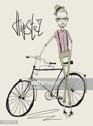Young man with bike. Biking clipart hipster