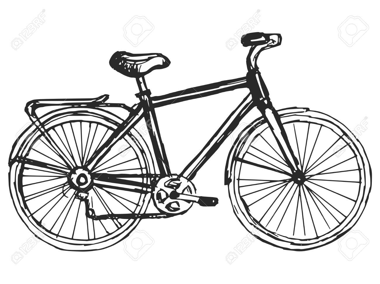 Bicycle clipart illustrated. Stock vector cards in