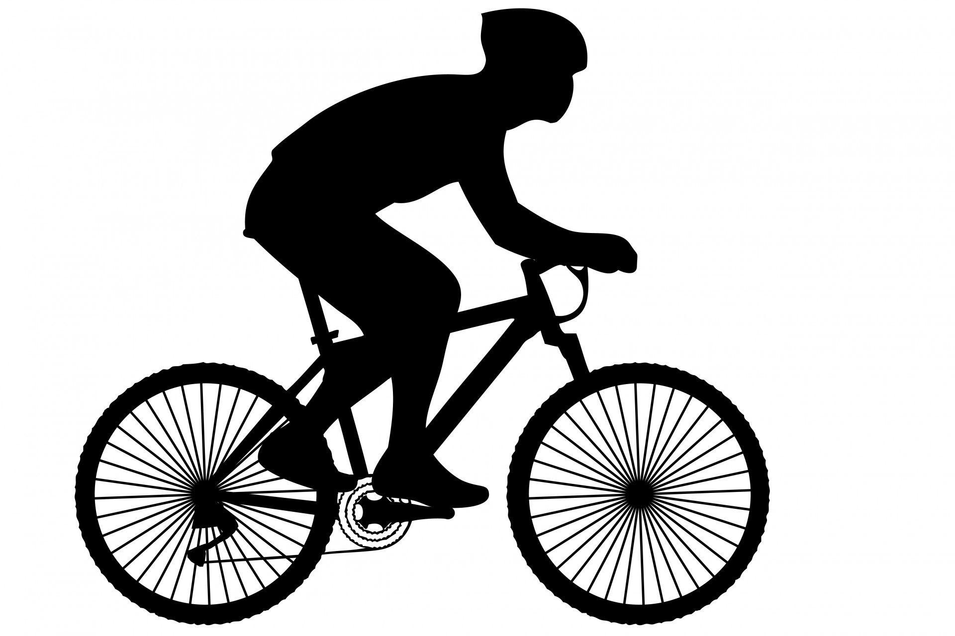 Black silhouette of a. Biking clipart illustration