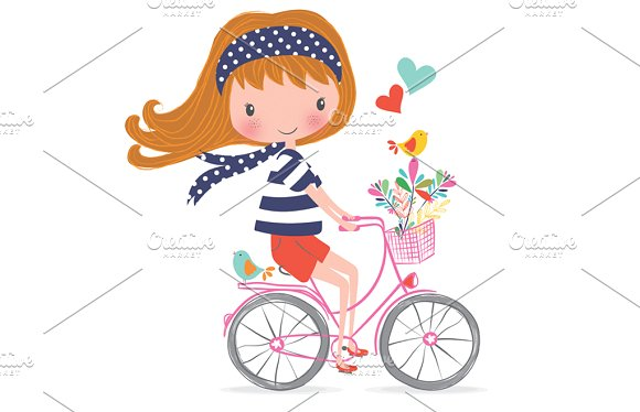 Cute girl bike t. Bicycle clipart illustrated