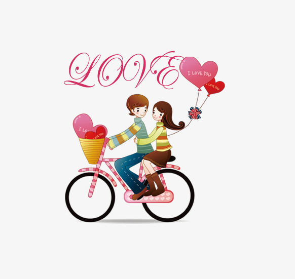 Bike couple hand painted. Bicycle clipart love