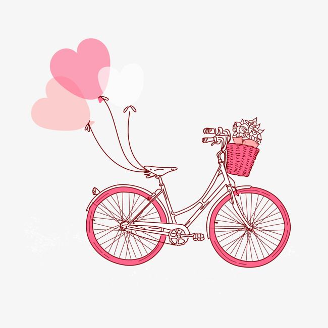 Pink bike cartoon png. Bicycle clipart love