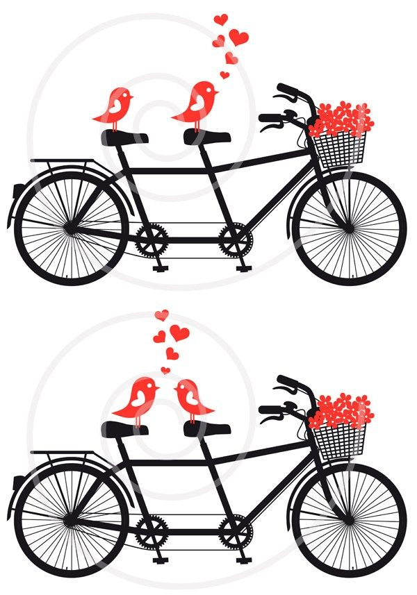 Tandem bicycle with cute. Biking clipart wedding