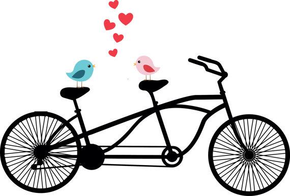 Tandem birds wedding invitation. Bicycle clipart love