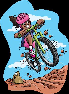 Bikes and bicycles girl. Biking clipart mountain bike