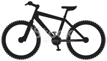 Simplified silhouette stock vectors. Bicycle clipart mountain bike