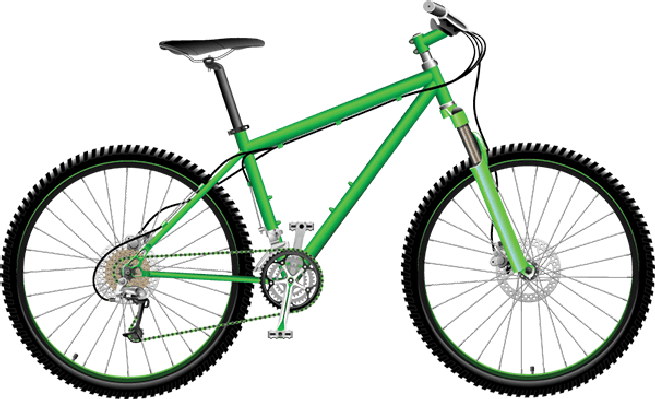 Bikes and bicycles green. Clipart bicycle
