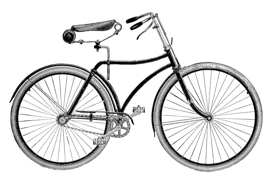 Vintage clip art bicycle. Biking clipart old fashioned