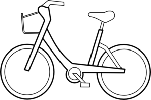 Bicycle clipart outline. Bike black and white