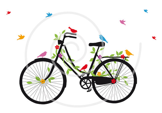 Vintage bicycle with birds. Biking clipart flower
