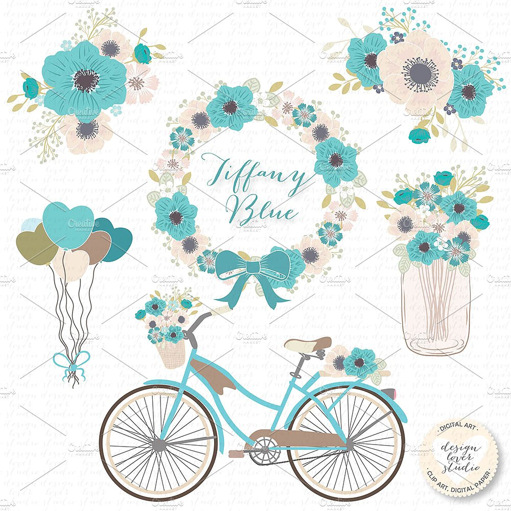Vector blue cliparts illustrations. Bicycle clipart rustic
