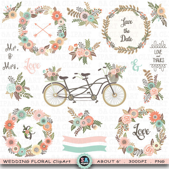 Bicycle clipart rustic. Wedding floral clip art