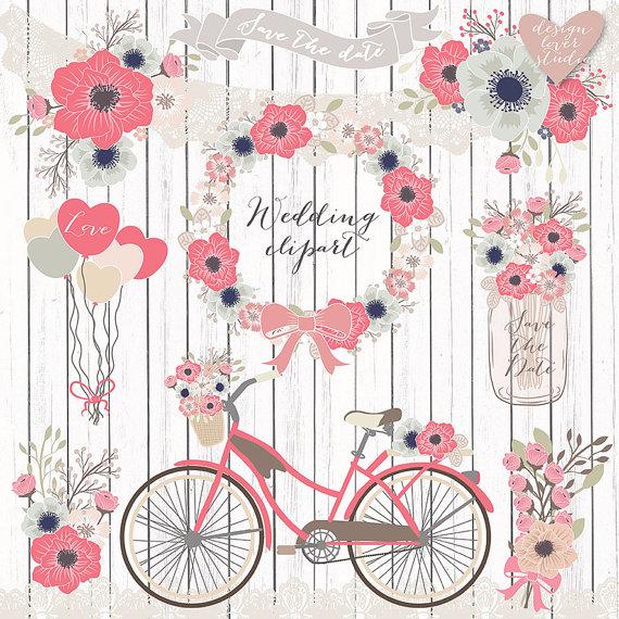 Premium vector wedding shabby. Bicycle clipart rustic