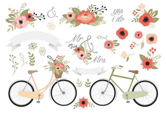 Bicycle clipart rustic. Premium vector wedding stationery