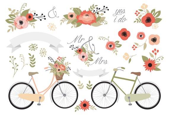 Clipart bike rustic. Premium vector wedding stationery