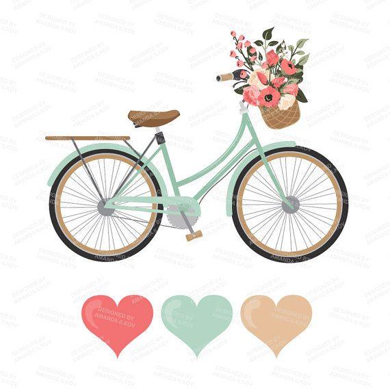 Bicycle clipart rustic. Premium wedding vectors mint