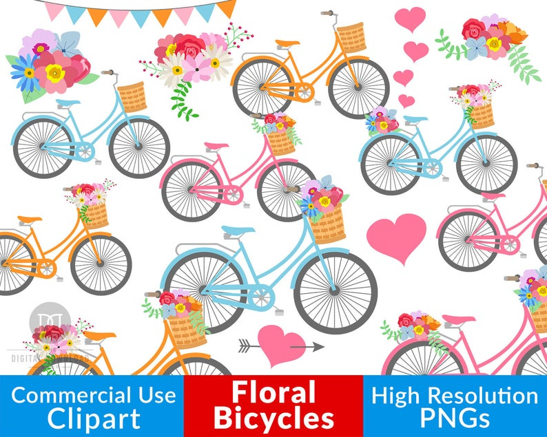 Spring wedding bikes floral. Bicycle clipart rustic