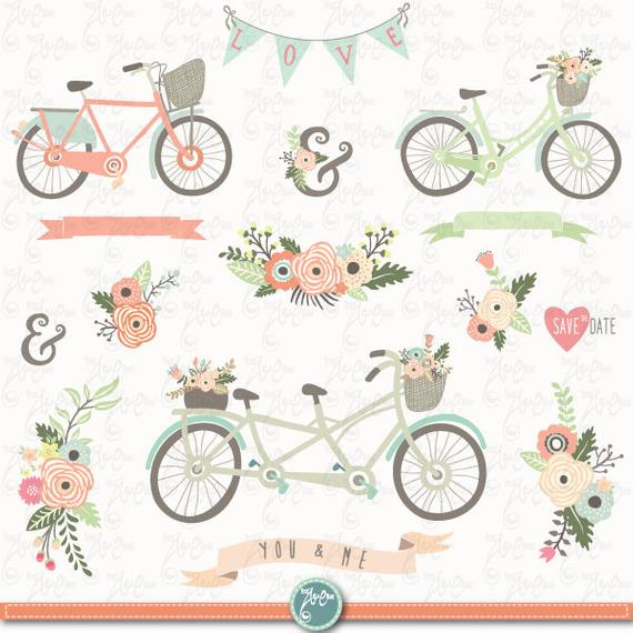 Floral clip art bicycles. Bicycle clipart rustic