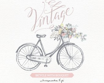 Etsy vintage with floral. Bicycle clipart rustic