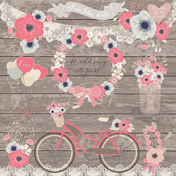 Clipart bike shabby chic. Premium vector rustic wedding