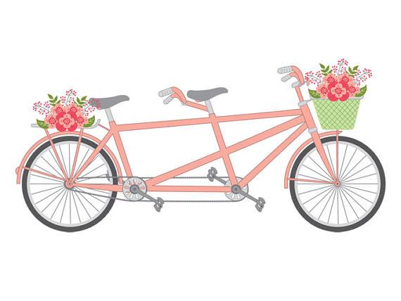 Bike clipart shabby chic. Tandem vector