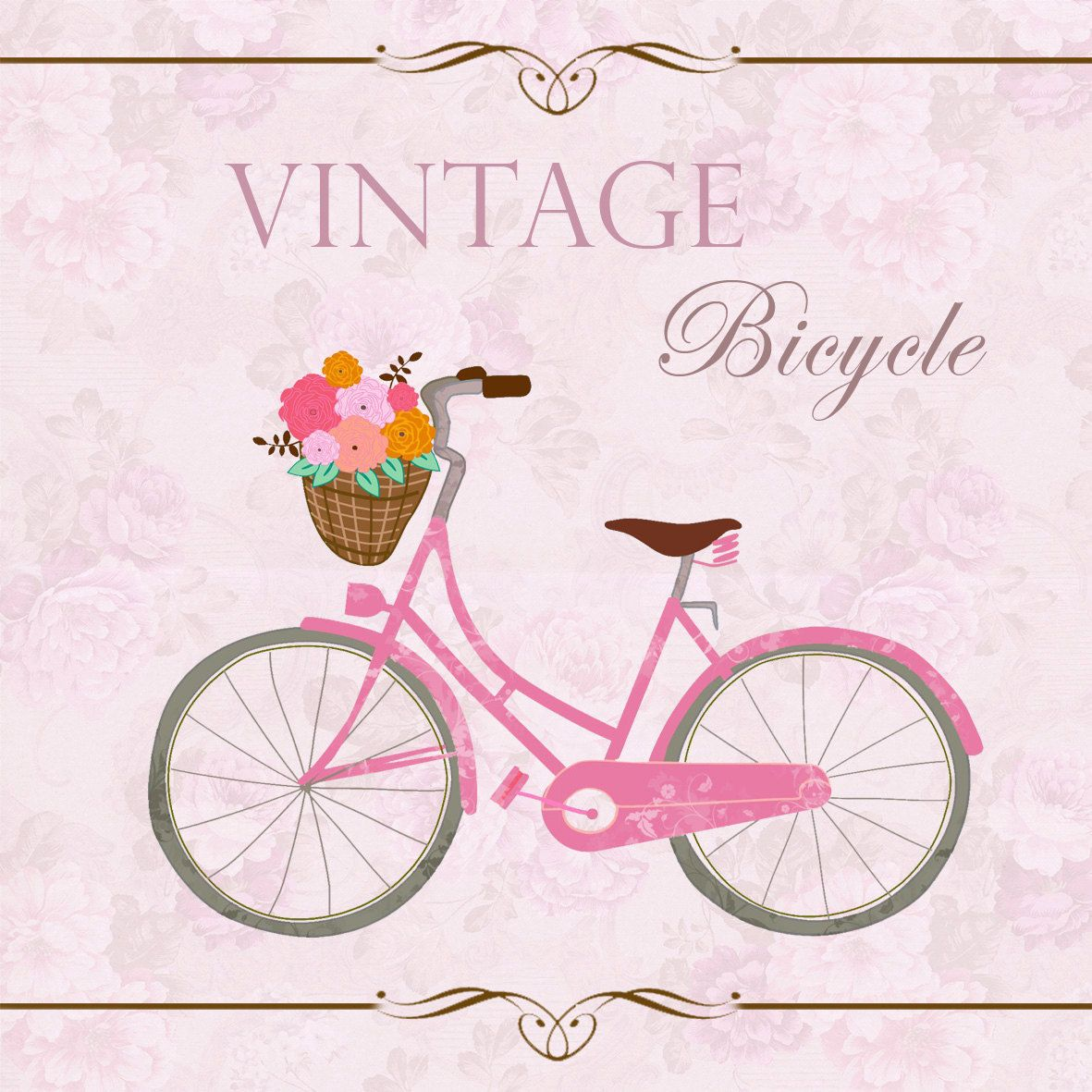 Vintage bicycle clip art. Bike clipart shabby chic