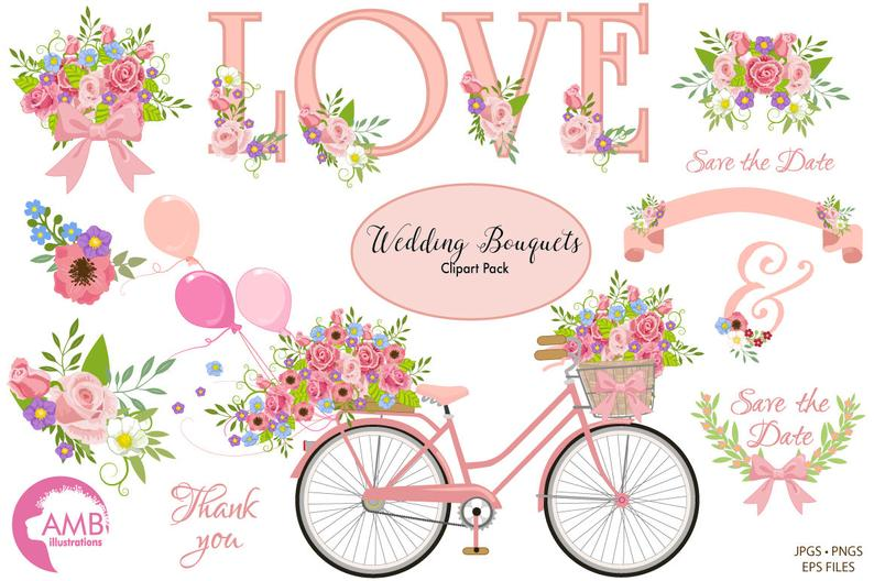 Wedding bicycle and flowers. Bike clipart shabby chic