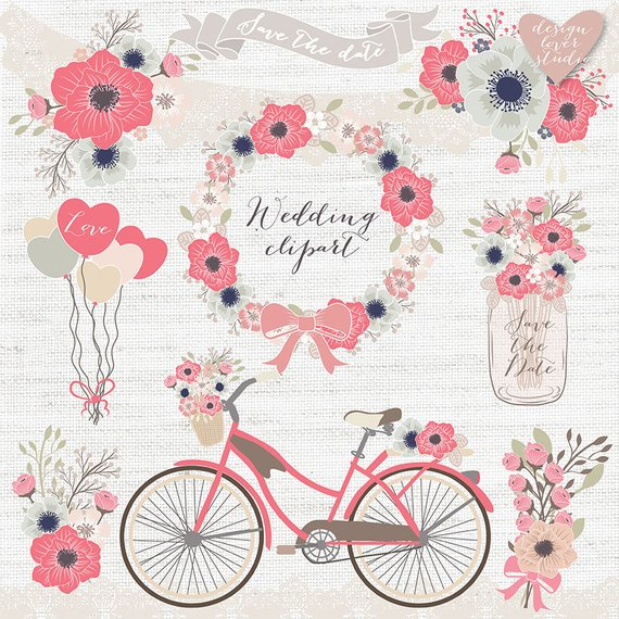 Premium vector rustic wedding. Clipart bike shabby chic