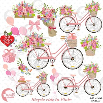 Clipart bike shabby chic. Bicycle and flowers amb