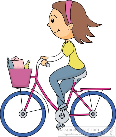 Riding with full basket. Bicycle clipart sport