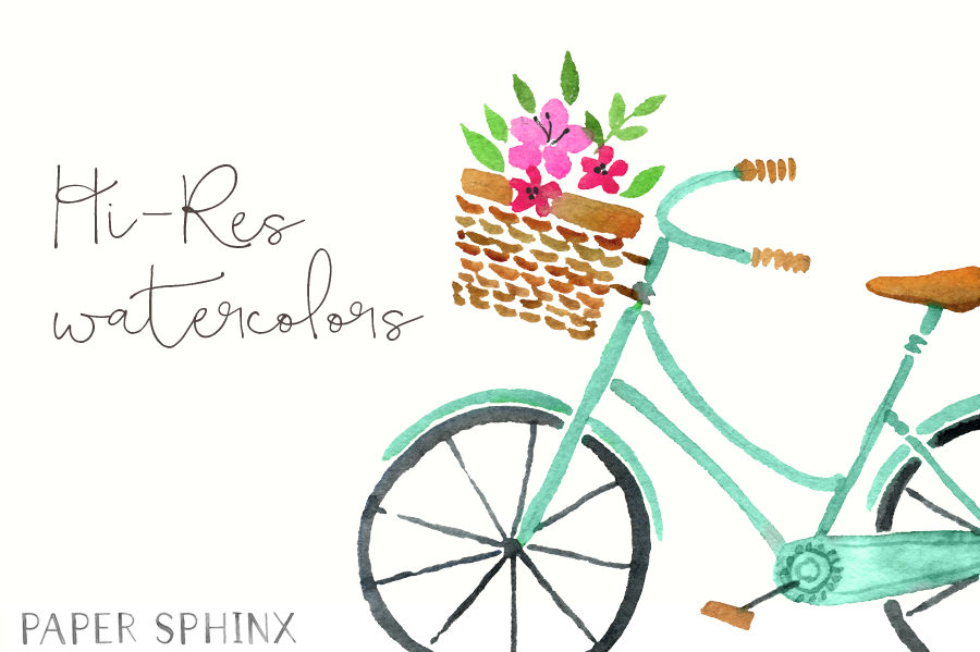 Watercolor clip art flowers. Clipart bicycle spring