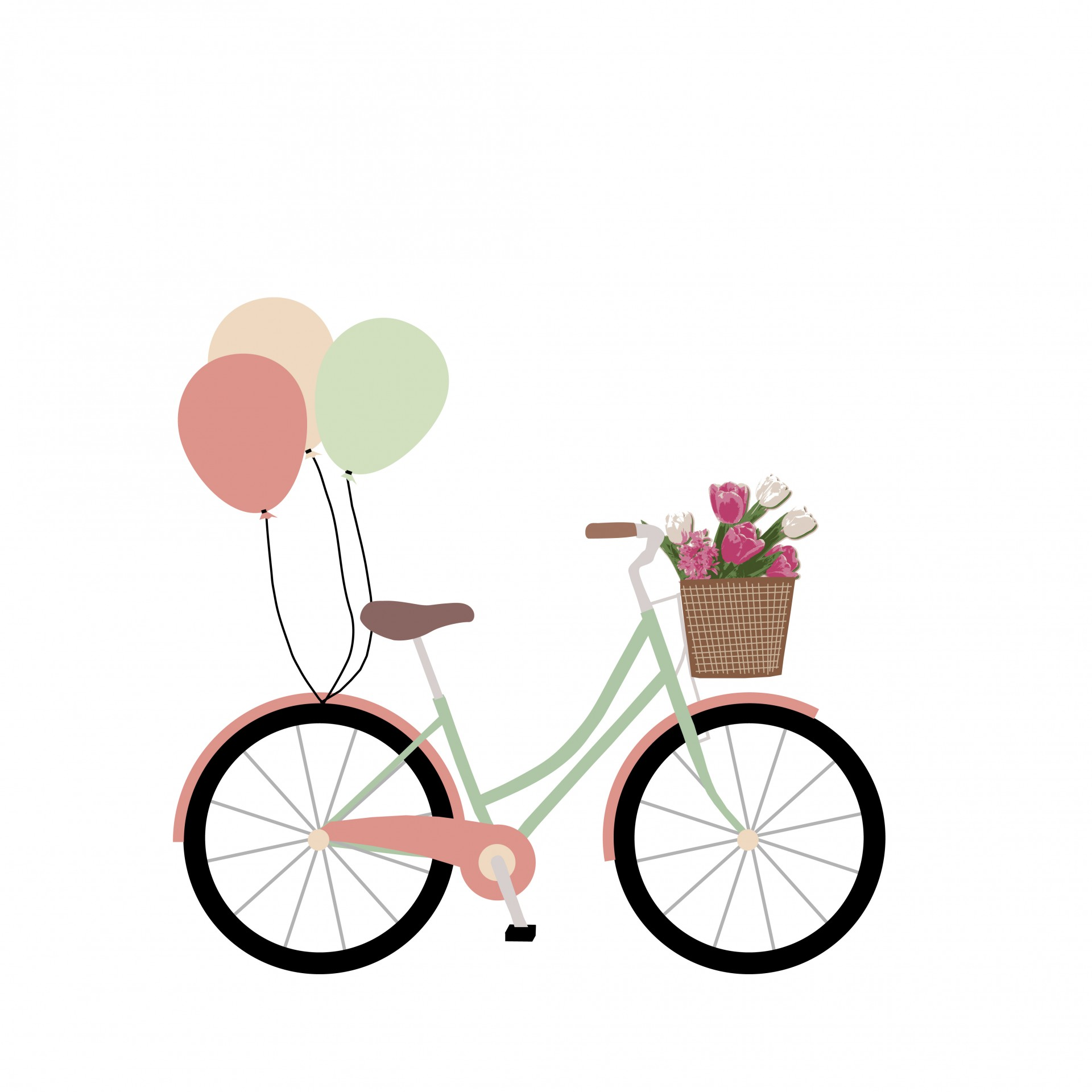 Bike bicycle with balloons. Biking clipart flower