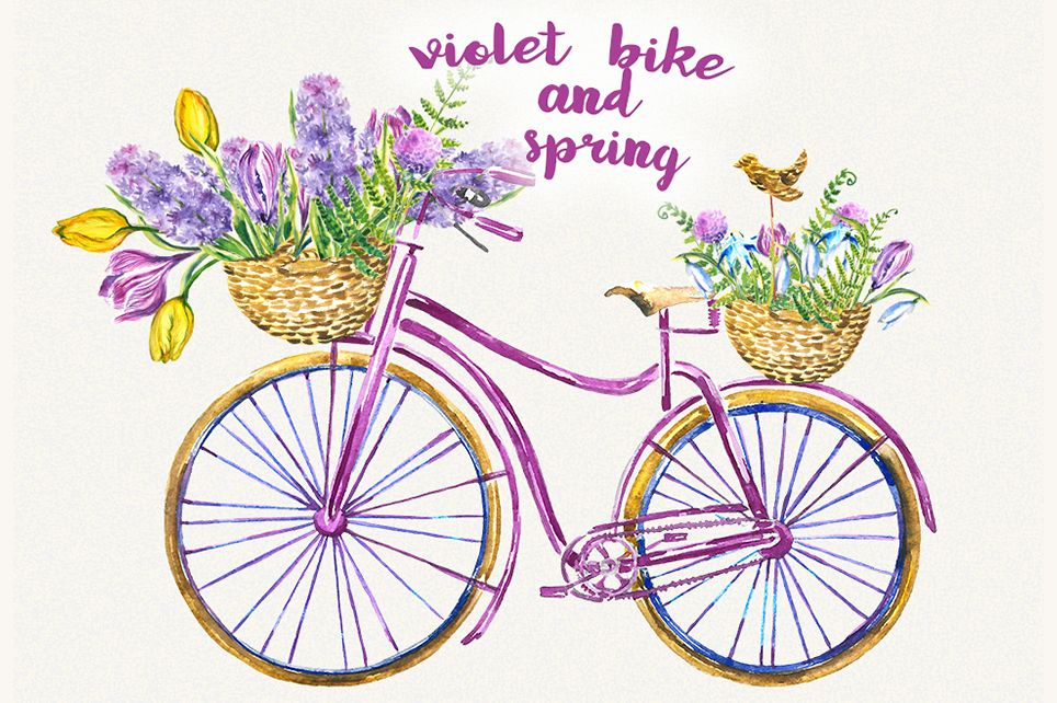 Bike flower . Clipart bicycle spring