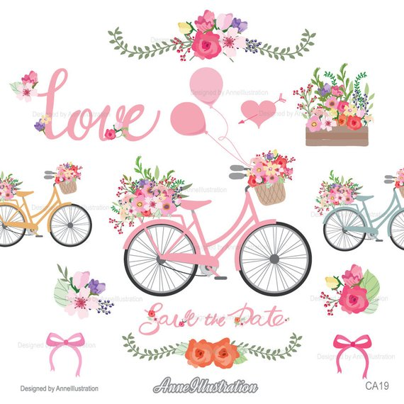 Clipart bicycle spring. Wedding floral