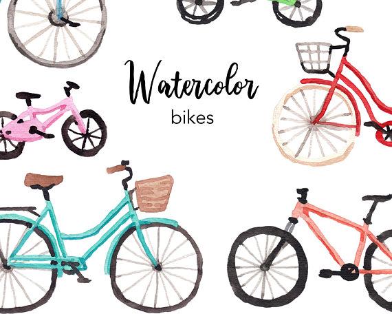 Bicycle clipart summer. Watercolor bike watercolour set