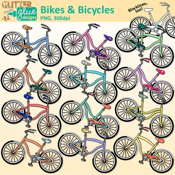 Bicycle and bike clip. Biking clipart summer