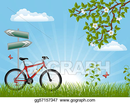 Bicycle clipart summer. Stock illustration landscape with