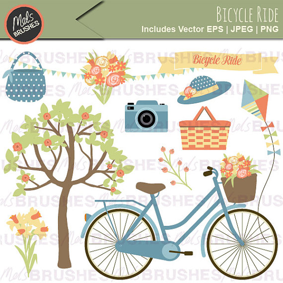 Ride picnic clip art. Bicycle clipart summer