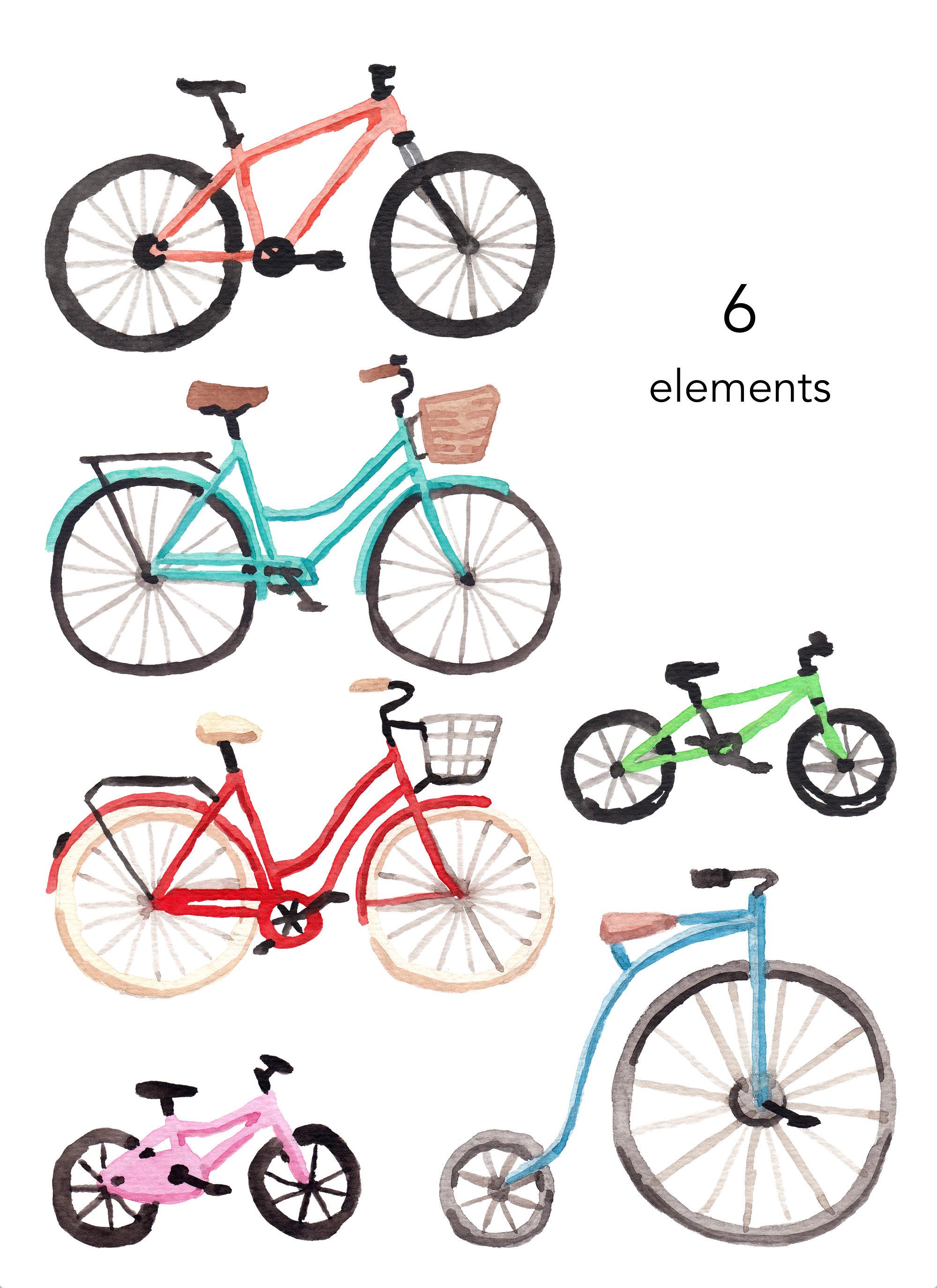 Watercolor bike watercolour set. Bicycle clipart summer