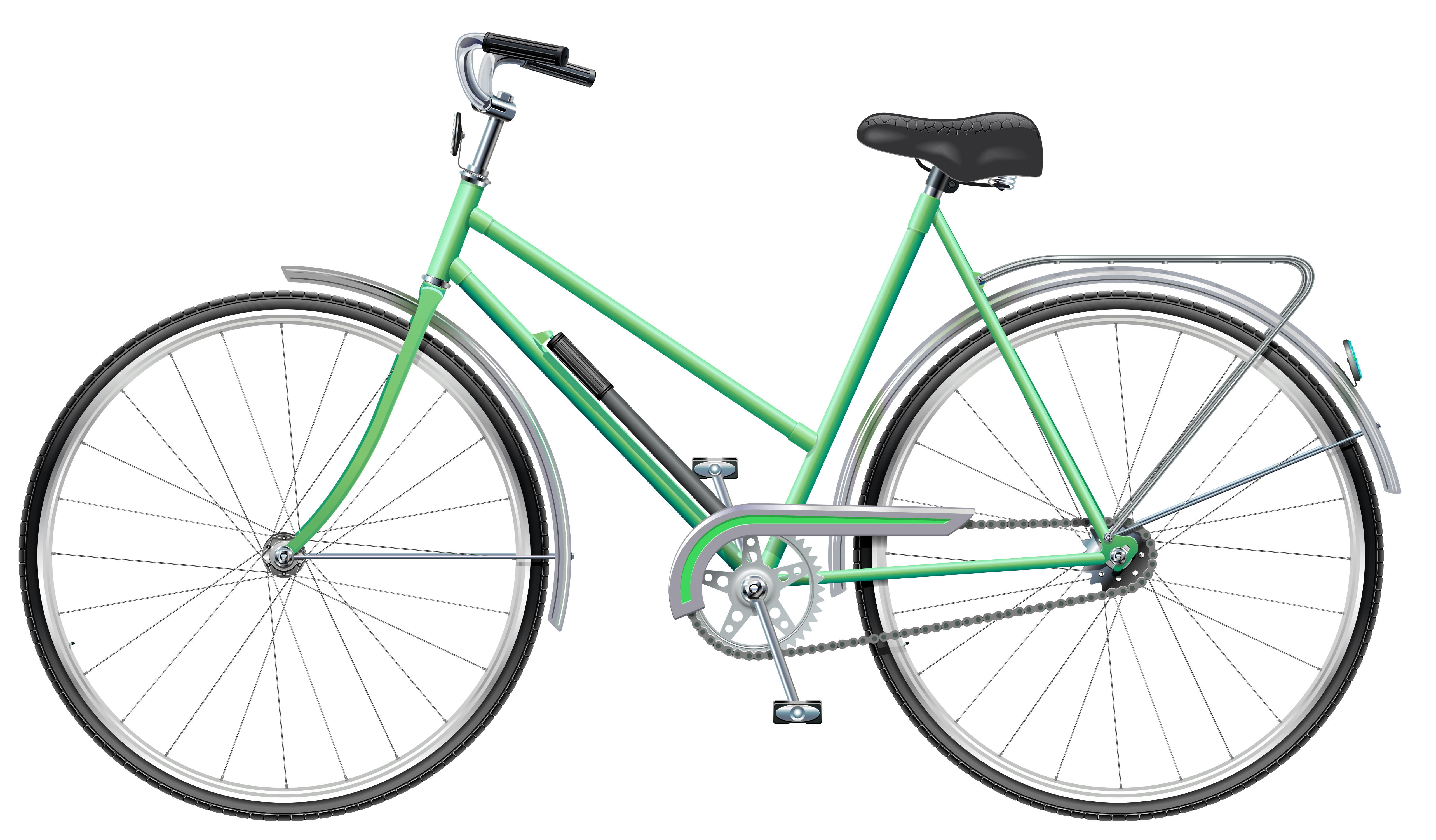 Green bicycle png clip. Bike clipart transparent background