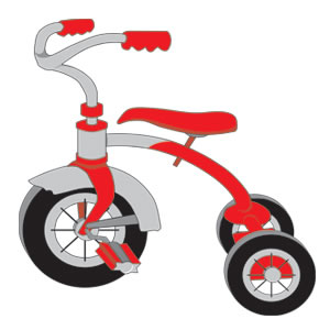 Pencil and in color. Bicycle clipart tricycle