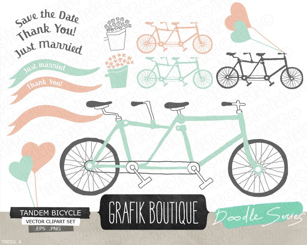 Bicycle clipart vector. Tandem mint hand drawn